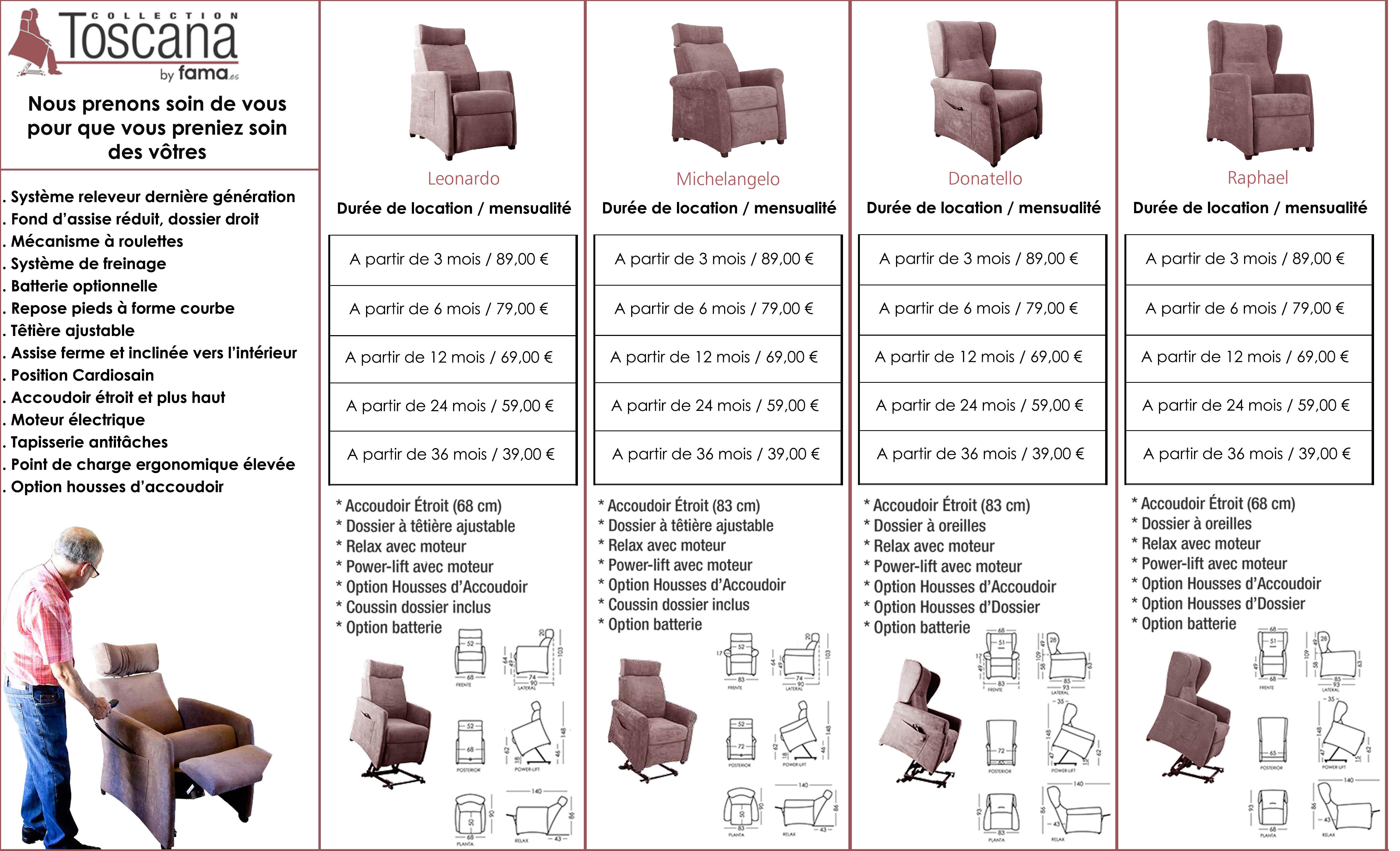 Tarif location fauteuil releveur Toscana Fama Mobilier cuir et cuir Lyon Roanne Marseille
